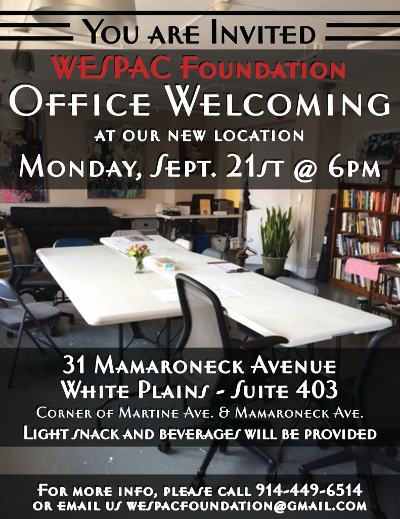 All are welcome to attend our office welcoming on Monday, September 21st at 6pm.  Please mark your calendars today: