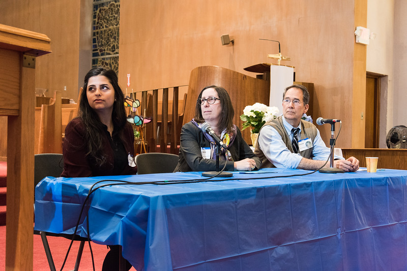 (Left: Syrian Activist Sana Mustafa, Middle: Vice President of External Affairs at Hebrew Immigrant Aid Society (HIAS) Riva Silverman, Right: Executive Director of Integrated Refugee and Immigrant Services (IRIS) Chris George at Memorial United Methodist Church in White Plains, NY on April 5, 2016 taken by photographer Ron Carran)