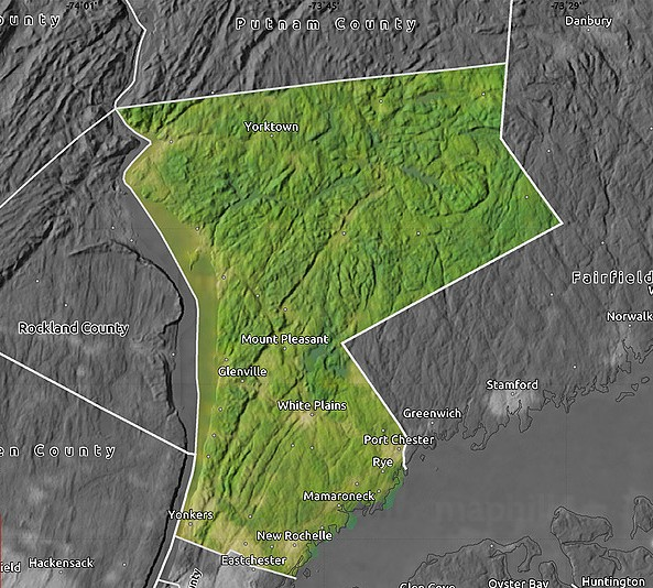 Satellite map of Westchester County, desaturated.